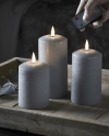 Set of 3 Silver Led Wax Candles